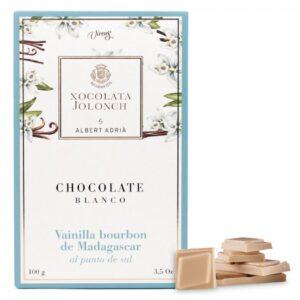 White Chocolate with Vainilla Bourbon Madagascar point of Salt 100g – Torrons Vicens