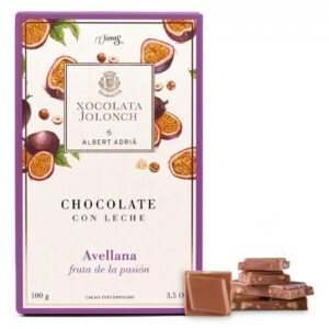 Milk Chocolate with Hazelnuts and Passion Fruit 100g – Torrons Vicens